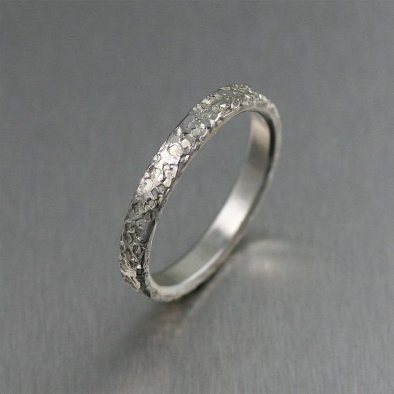 Fresh Texturized Stackable Sterling Silver Band Ring Unisex Band Rings Silver Stackable Band Rings A Great Wedding or Commitment Ring