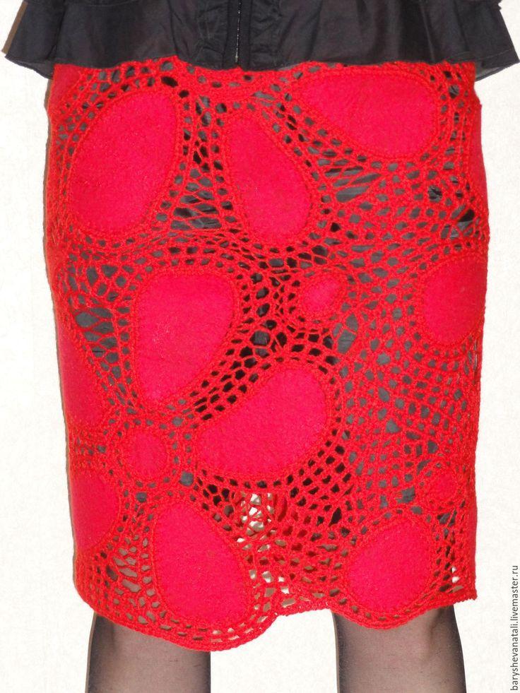 Купить или заказать Юбка Алые кружева в интернет-магазине на Ярмарке Мастеров. Валяно-вязаная юбка в технике ирландское кружево. Нарядная,праздничная юбка. Прекрасно смотрится с разного цвета чехлами,как с контрастными так и в тон .Не смотря на ажур,юбка теплая . Продаётся с чехлом черного цвета из плотного трикотажа,пояс юбки и чехла на резинке. В магазине постоянное обновление,кликните по кнопке 'Добавить в круг' - и Вы будете первыми узнавать о моих новых работах, акциях и конкурса...