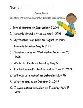 Commas in dates worksheets 2nd grade