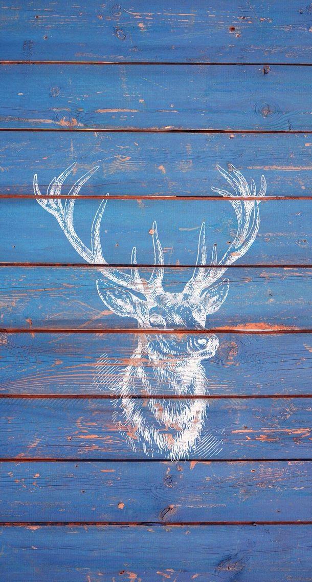 Deer on blue wood. iPhone wallpaper