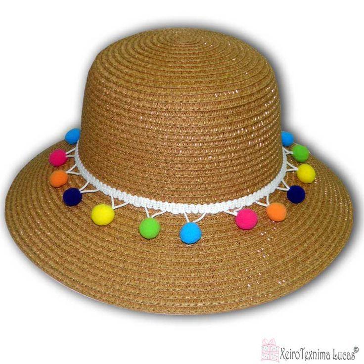 γυναικεία ψάθινα καπέλα με πολύχρωμα πον πον