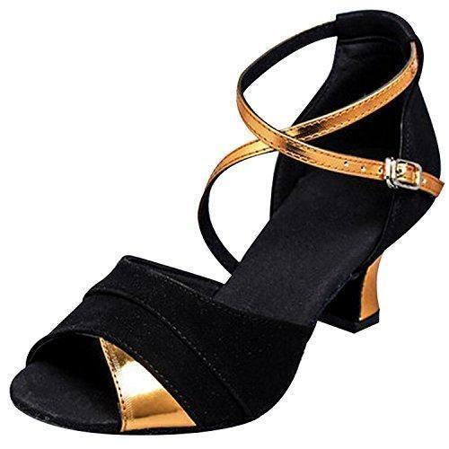 Oferta: 21.99€ Dto: -19%. Comprar Ofertas de Oasap Sandalias Estilete Baile Latino Negro Partes Dorado de Mujer barato. ¡Mira las ofertas!