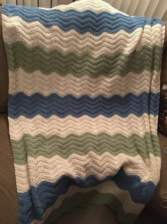 Blue Green And White Crocheted Wave Afghan Crochet