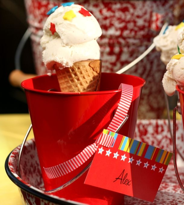 Patriotic Ice Cream Ideas + Free Favor Tags, Straw Slips and Napkin Rings | Kim Byers, TheCelebrationShoppe.com