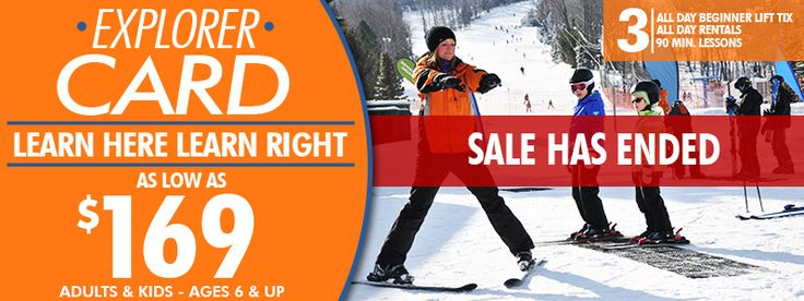 f you're a beginner skier or snowboarder and want to learn right, Camelback Mountain offers the Explorer Card to guests new to Camelback Mountain in PA. For only $169.00 when purchasing online, or $179 at the ticket window, the Explorer Card includes 3 all-day, lower-mountain beginner lift tickets, 3 group lessons on our state-of-the-art Terrain Based Learning features, and 3 all-day, ski or snowboard equipment rental packages.