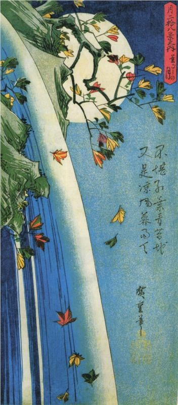 The moon over a waterfall			Hiroshige - by style - Ukiyo-e