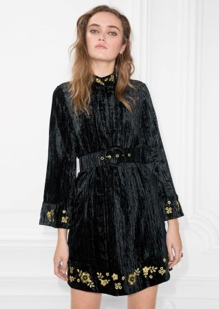 & Other Stories | Velveteen Embroidery Dress