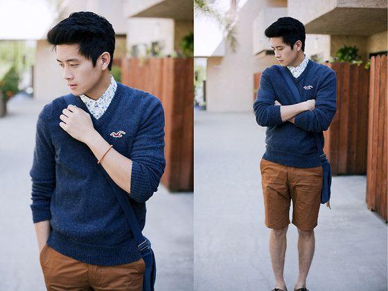 Hollister Blue Sweater, Rhythm Livin Usa Floral Shirt, H Copper Shorts, Cotton On Messenger Bag, Aldo Cognac Brogue Shoes