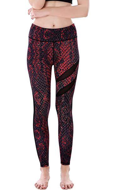 0486c19340b54 Aivtalk Yoga Leggings for Women Printed High Waist Stretch Fitness Leggings  Snakeskin Pattern Breathable Jeggings Red L