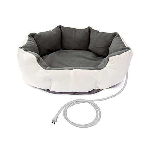 ALEKO PHBED17S Warm Soft White Gray Heated Pet Bed Indoor ThermoPad Crate Padded Bed For Dogs and Cats 19 X 19 X 7Inches -- To view further for this item, visit the image link.