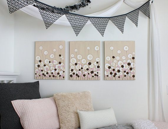 Pink and Brown Nursery Art  Acrylic Painting on Canvas by Amborela