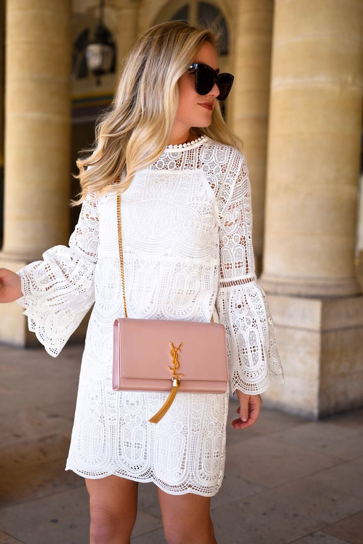 Chicwish White Lace Bell-Sleeve Dress | Lomurphy.com
