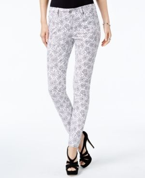 Michael Michael Kors Printed Skinny Jeans,a Macy's Exclusive Style - White/Black 16