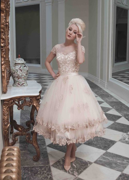 Evie Dress Photo Four house of mooshki bridal fall 2014 evie pink champagne tulle tea length wedding dress