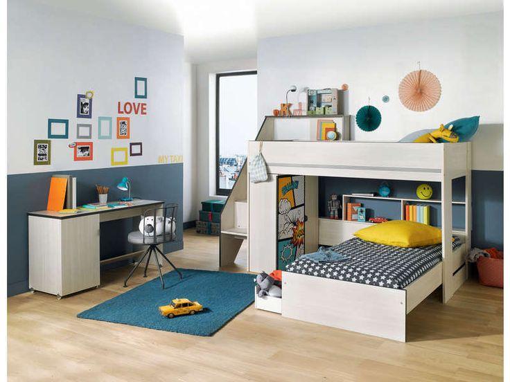 Lits perpendiculaires 2x90 cm GRAVITY prix promo Lit Enfant Conforama 429.50 € TTC au lieu de 534.50 €