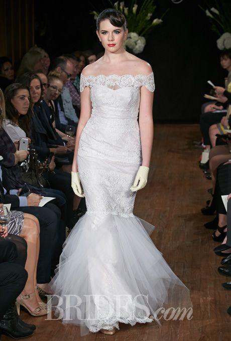 "Brides.com: Sarah Jassir - Fall 2014. ""Rita"" off-the-shoulder lace mermaid wedding dress with tulle skirt, Sarah Jassir"