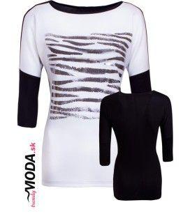 Moderné čiernobiele tričko so striebornou potlačou vzoru zebra.-trendymoda.sk