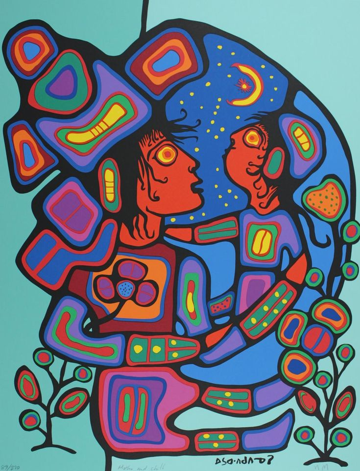 Kaha:wi Dance Theatre's production of TransMigration is inspired by the life and paintings of iconic Ojibwe shaman-artist Norval Morrisseau.  Mother and Child by Norval Morrisseau