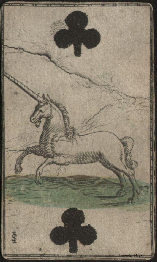 Licorne & symbole du trèfle (XVIIIe siècle) - Carte à jouer.