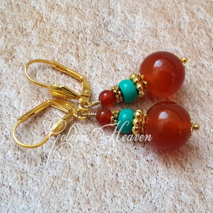 Carnelian Earrings Red Carnelian agate Natural turquoise Stone Gold plated Leverback Red Green Earrings Gemstone Jewelry cute gift for her by GoldenHeaven on Etsy
