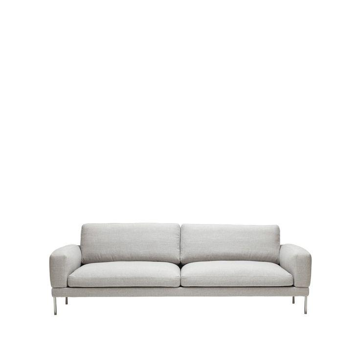 Armilla soffa - Armilla soffa - ljusgrå, tyg fider med ben i krom