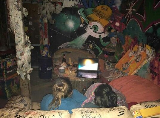 Watching movies // Alien conspiracies // painted walls