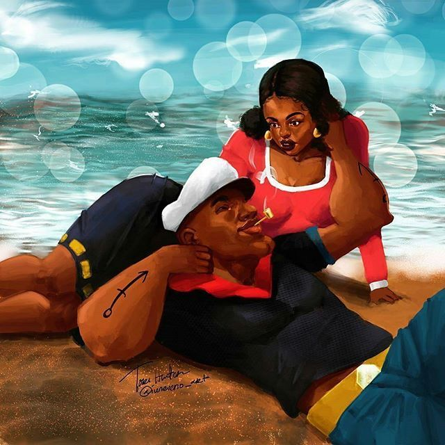 Popeye reimagined as a Black Man and a Thick Olive ...... LOVE IT !!!
