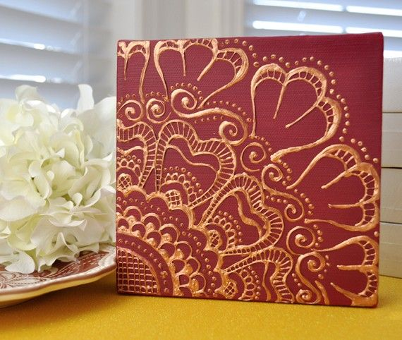 Henna Inspired Golden Floral on Deep Red 6x6 by LiaDiaDesigns, $45.00