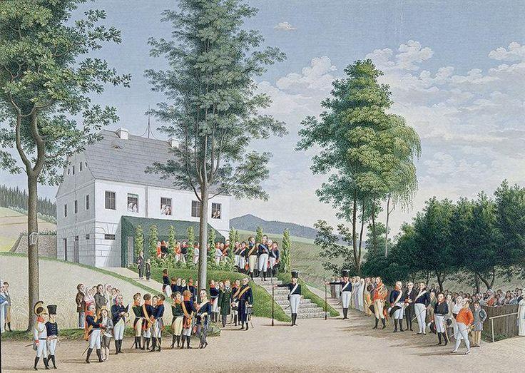 Встреча Александра I и Фридриха Вильгельма III в местечке Ландек (Силезия) 3 августа 1813 года  А. Гронд 1813-1814 гг