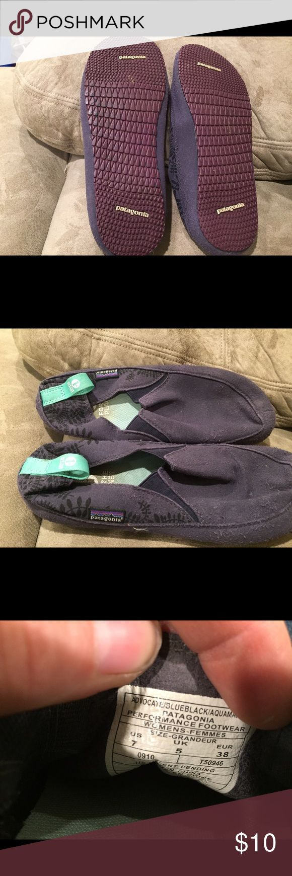 Patagonia shoes Patagonia slip on shoes. Wear and tear on the top but the bottoms are in great condition. Price reflects. Patagonia Shoes