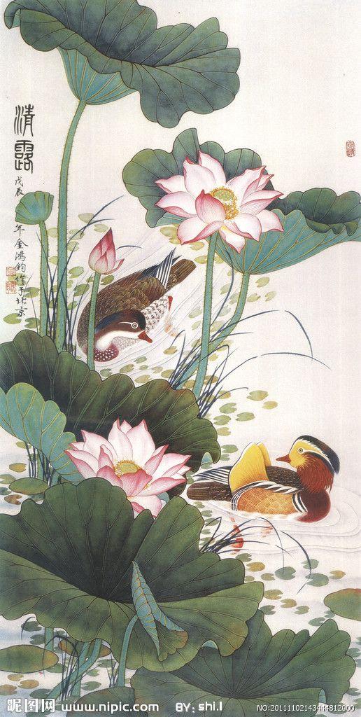 Botanical illustration with two ducks, Chinese