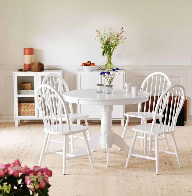Bringing In Country Living With A Classic White Dining Room Table And Chairs Add Pops Of Green Colours Plants Flowers From JYSK