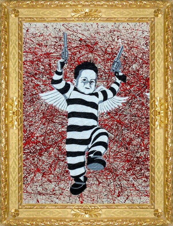 Baby Boomer. 2016 Household paint on raw linen.#moman #babyboomer #keepgunsawayfromtots #contemporaryart #popart