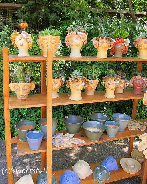 Handmade Head Pots At The Sacramento Cactus U0026 Succulent Society Show And  Sale