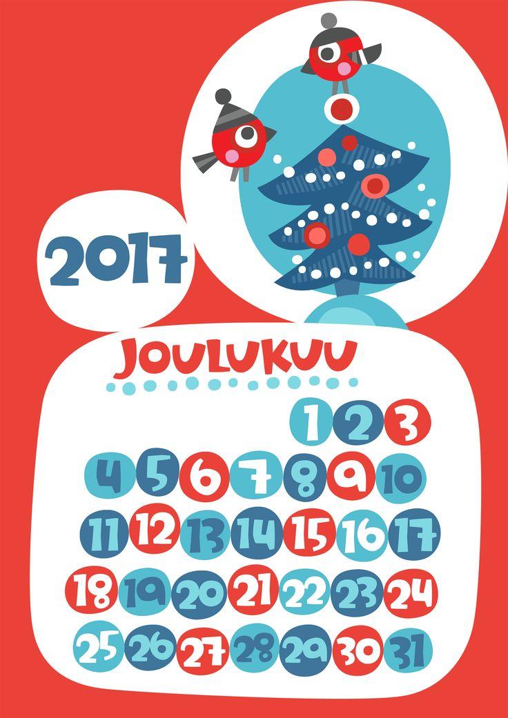Joulukuu 2017 | free | printable | pattern | lasten | lapset | askartelu | kalenteri | vuosikalenteri | seinäkalenteri | tulostettava | paperi | koti | sisustus | kids | children | crafts | home | paper | calendar | Pikku Kakkonen