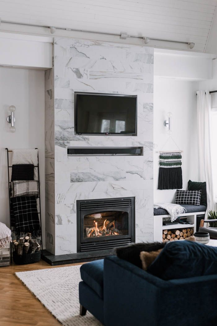 Gorgeous Tiled Fireplace Surround With Hidden Tv Wires Hide Your Television And Sound Bar Cables These Great Tips Free Build Plans For This Beautiful