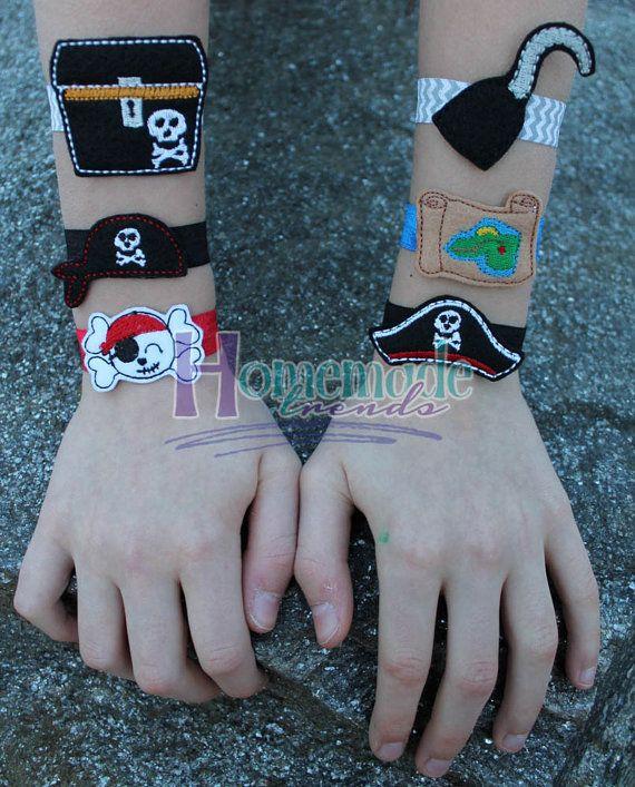 Felt Stretch Bracelets-Pirate Bracelets-Pirate by HomemadeTrends
