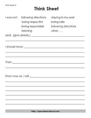 This is a behavior think sheet for older students. The students actually have to write out what did that was inappropriate, what they should have done, and what they will do in the future. -Megan Gawronski