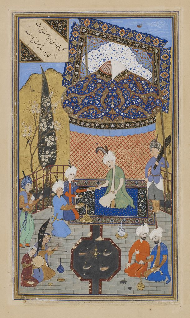 Folio from a Divan (collected poems) by Hafiz (d. 1390); recto: text: Poem of the contentment of heart and soul; verso: illustration and text, Prince entertained on a terrace, 1523, Afghanistan