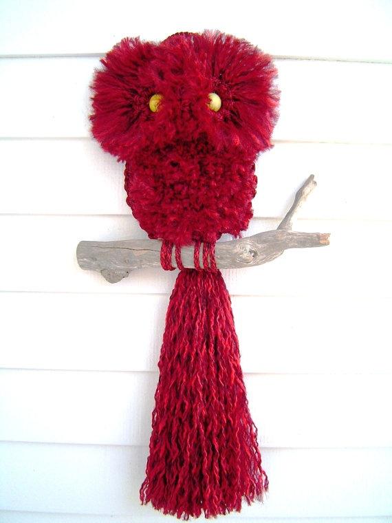 Vintage 1980 Pattern It's a Hoot Red Macrame Owl