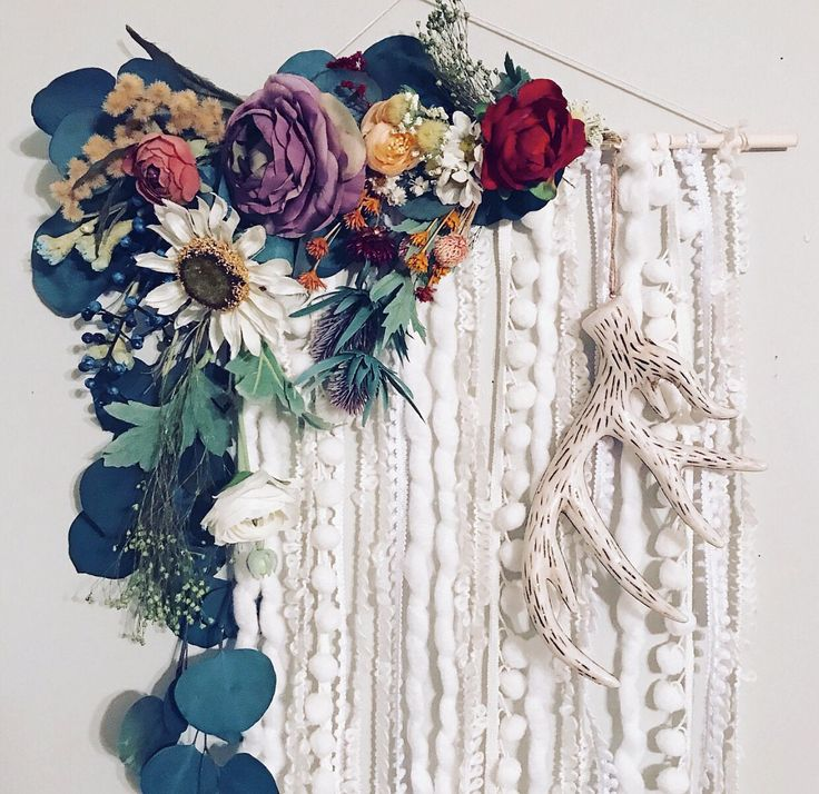Wall Hanging, Floral Wall Hanging, Hippie Wall Art, Wildflower Wall Hanging, Modern Wall hanging, Flower Wall Decor, Bohemian Wall Hanging by BlairBaileyDesign on Etsy https://www.etsy.com/listing/553487538/wall-hanging-floral-wall-hanging-hippie