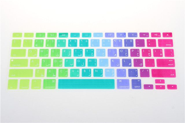 Russian Spanish Colorful Silicone Keyboard Cover Skin for macbook air 13 pro 13 15 17 retina Rainbow Protector US Euro Layout