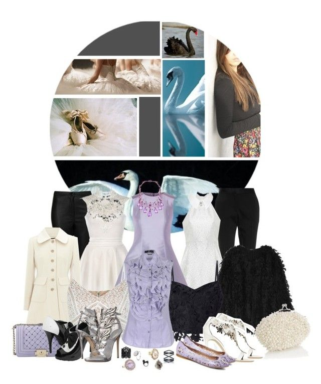 """Duchess Swan"" by wicked-elsa ❤ liked on Polyvore featuring National Geographic Home, Black Swan, Prabal Gurung, Topshop, Alice + Olivia, RED Valentino, River Island, DKNY, Warehouse and New Look"