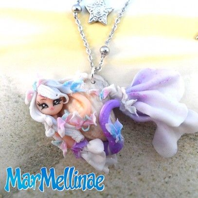 MarMellinae (mod.1)  Necklace made by hand by two italian artists. Made with great attention to detail and high quality materials. MarMellinae are creatures born from dreams, they came to us to be worn as precious jewels… because they really ARE special precious jewels. Each mermaid is created entirely by hand.