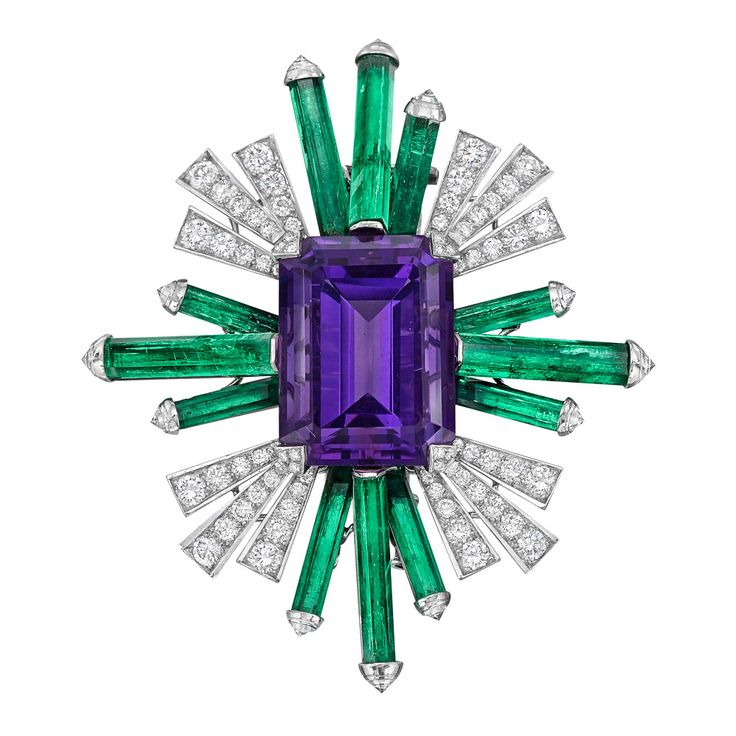 Chanel – Estate Amethyst, Emerald & Diamond Spray Brooch