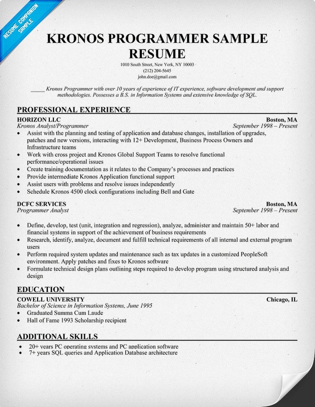 Kronos Programmer Resume Example (resumecompanion) Resume - financial analyst resume objective