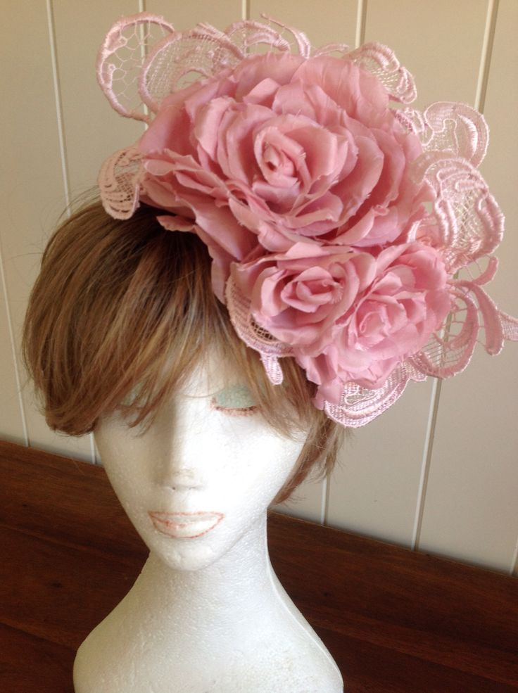 Pretty in Pink handmade silk roses and lace