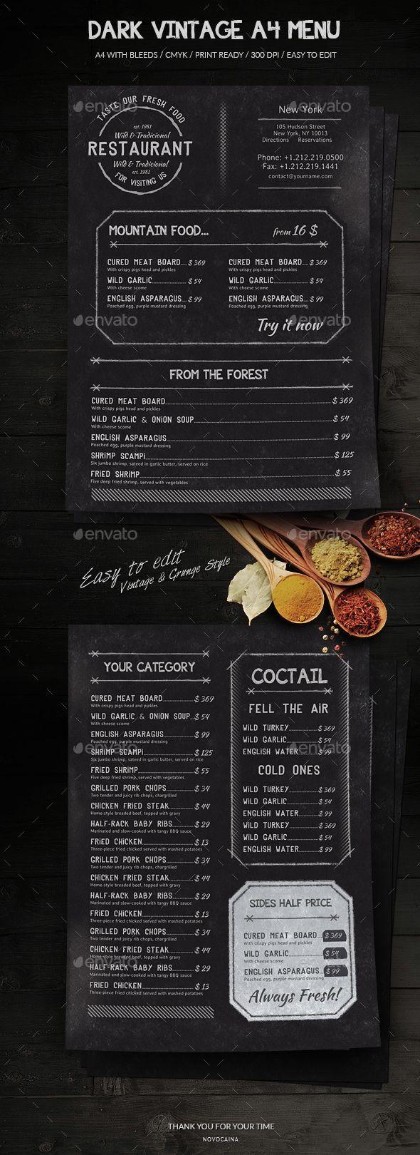 Dark Vintage A4 Menu - Food Menus Print Templates Download here : https://graphicriver.net/item/dark-vintage-a4-menu/18788207?s_rank=143&ref=Al-fatih