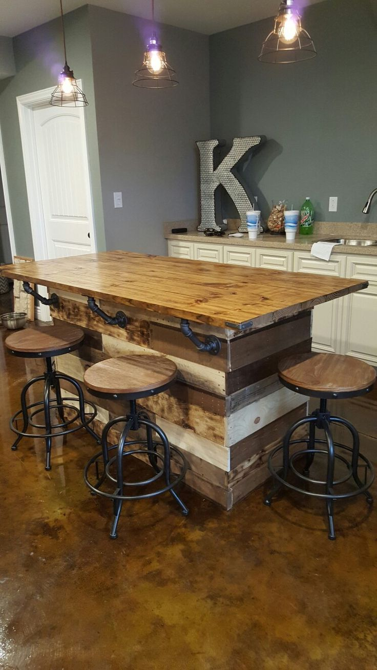 Repurposed Pallet Wood Bar with Industrail Piping Cobels.