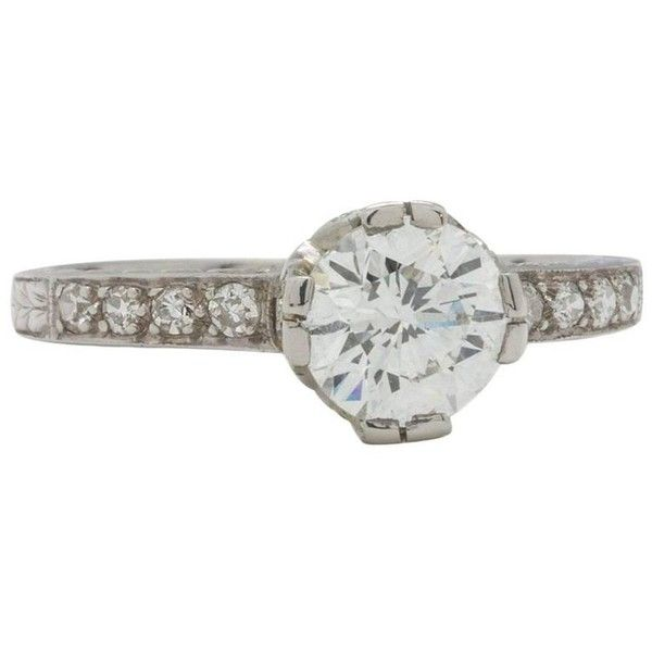 Preowned Vintage Style Diamond Engagement Ring Platinum 0.86 Carat... ($6,385) ❤ liked on Polyvore featuring jewelry, rings, engagement rings, multiple, wide-band diamond rings, edwardian engagement rings, round diamond ring, pre owned diamond rings and platinum rings
